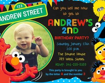 Sesame Street Birthday Party Invitation, Sesame Street, Elmo, Card, Invitation, Photo -  Digital or Printed