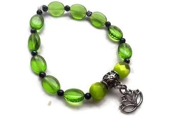 Lotus Bracelet - Stretch Bracelet - Lotus Blossom Charm Bracelet - Green Lotus Bracelet - STR5518730