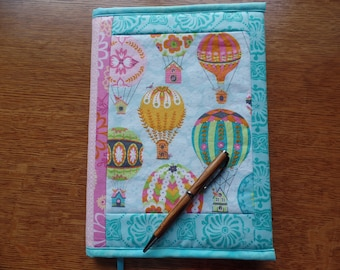 Journal, Fabric Journal Cover, Refillable, Hot Air Balloons, Travel Diary, Birds, Blue, Pink, Green
