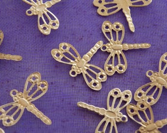 Charm jewelry scrapbooking animal Dragonfly gold tone