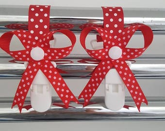 Mitten clips. Gloves. Red and white polka dot with bows