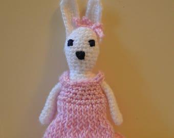 Crochet bunny rabbit, white bunny rabbit soft toy, amigurumi doll