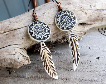 Feathers || Bone Feather Earrings | Nature Lover | Southwest | Native American | Earthy | Organic | Woodland Wedding | Earrings Under 20
