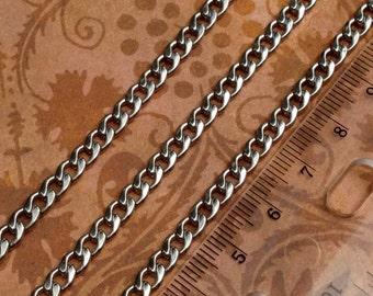 Stainless Steel 7.5 x 9 mm bevel cut flat curb chain-high quality-marine grade-steampunk-wallet jewelry watch burning man Di Vinci-KR127