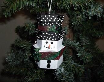 Christmas Ornament - Stacked Box Snowman - Hexagonal