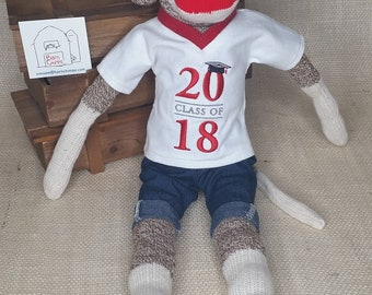 "Personalized 2018 Graduate Gift - Grad Gift - Graduate Sock Monkey - 18"" tall - Rockford Red Heel Socks"