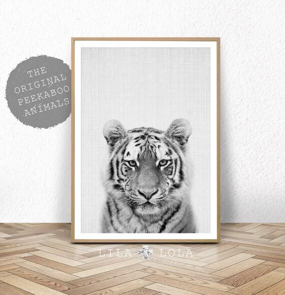 Tiger Print, Kids Nursery Room Printable, Digital Poster Instant Download, Boys Black and White Decor, Modern, Lila and Lola, Safari Animal