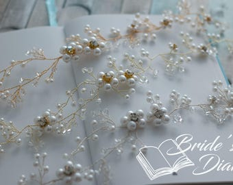 Wedding hair jewelry, pearls and crystals bridal wreath, bridal silver hair vine