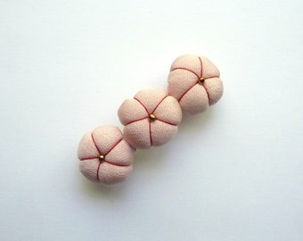 Baby Pink Barrette, Simple French Barrettes, Gold Color Beads, 3 Ume Plum Japanese Silk Kimono Flowers Hair Accessory