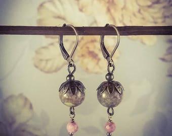 Unakite and Pink Rhodonite Bronze Lever Back Gemstone Drop Earrings [E79]