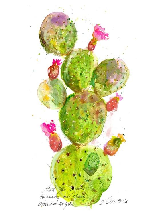 Inspirational christian art: Opuntia Cactus illustration with bible verse