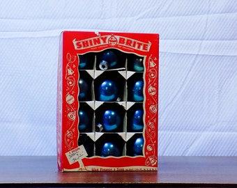 Blue Shiny Brite Ornaments - box of 12!