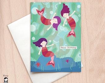 Mermaids - Sisters, Fairy Tale - Birthday Greeting Card