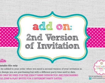 ADD ON:  2nd Version of Invitation - DIY Digital Printable File
