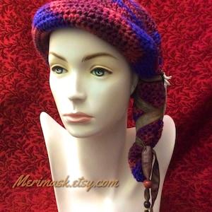 Blueberry Boho Hawk Cloche Crocheted Slouch Hat... knit yarn tied soft scarf cap bohemian boho