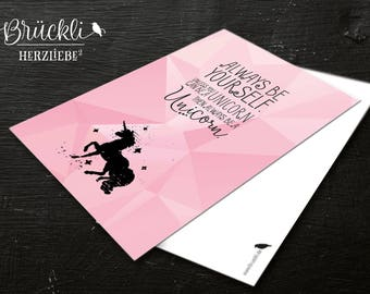 "Postcard / card / greeting card / greeting card ""Unicorn/Unicorn"", A6"