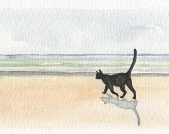 Cat and the Sea, 2 - Watercolor Print