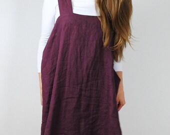 Deep bordo linen pinafore, linen pinafore with pockets,  square cross linen apron, linen apron dress for women