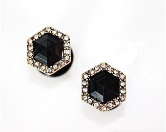 """Geo faux black oynx rhinestone gold toned stainless steel plugs for gauged or stretched ears sizes: 4g 2g 1g 0g 00g 7/16"""""""