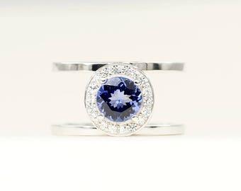 Diamond Engagement Ring.Tanzanite Engagement Ring.Diamond Ring.7mm Natural Tanzanite Diamond Halo Ring.14K Solid White Gold Engagement.