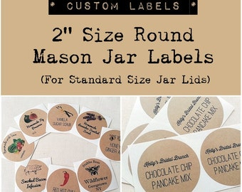 "2"" Custom Mason Jar Labels Stickers. Wedding Favor Labels. Product Labels. Custom Round Stickers. Kraft Round Labels. Once Upon Supplies"