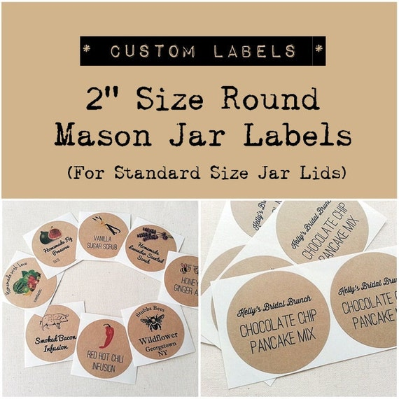 2 custom mason jar labels stickers wedding favor labels product labels custom round stickers kraft round labels once upon supplies