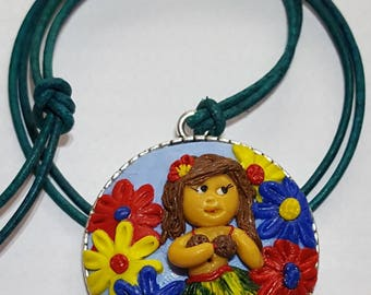 Handmade hawaiian hula girl and flower pendant necklace