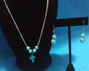 Turquoise and light blue cross set