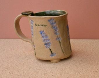 Lavender ceramic mug, Handmade stoneware cup with lavender, purple cottage chic tumbler, slab formed mug