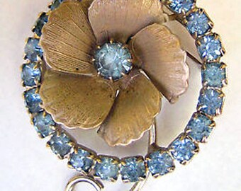 Vtg Flower Circle Pin Ice Blue Rhinestones Silvertone