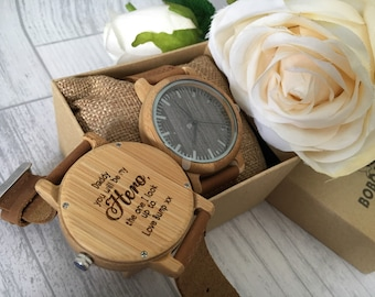 Personalised Father's Day Gift Wooden Watch Engraved with a leather strap and gift box - Daddy watch - gift for him style 3