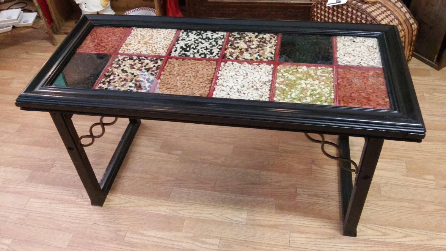 Recycled Window Coffee Table 12 Pane Reclaimed Window filled with