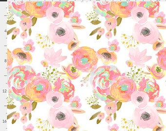 WaterColor Floral Roses Blush Coral Mint & Gold Baby Nursery Crib Bedding Set CHOOSE and CUSTOMIZE
