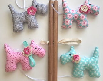 Pink, blue and grey fabric dog baby mobile