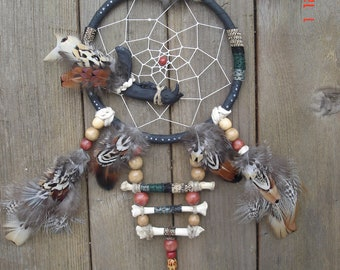 Handmade Dreamcatcher Raccoon Jaw and Bones Pheasant Feathers Upcycled
