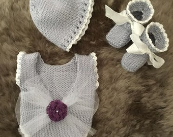 """Vintage Inspired Knit Sunsuit Set for 15"""" Micro Preemie"""