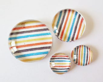 "Lot 4 theme ""RETRO - stripes"" (craftsmanship) cabochons 12mm / 20mm / 25mm"