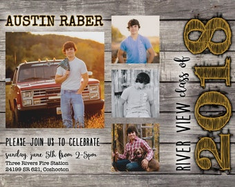 Rustic Graduation Party Invitation DIGITAL FILE
