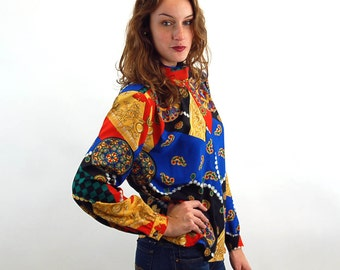 1980s blouse silky high neck attached scarf medallions bold colors holiday blouse Size M/L