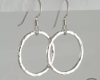 Hand Forged Sterling Silver Circle Hoop Earrings Small