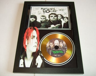 my chemical romance   signed disc display