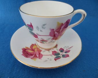 Vintage English Fine Bone China Royal Dover Cup and Saucer Set