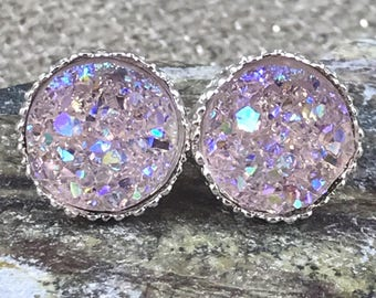 Bridesmaid Gift - Pale Pink Druzy Earrings Flower Girl Gift - Druzy Jewelry - Stud Earrings - Flower Girl Jewelry - Wedding Jewelry - Gifts