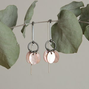 """Silver earrings """"NYMPHAEA"""" with mother-of-pearl, made of silver."""