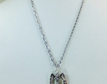 Doctor Who Inspired Pewter Weeping Angel Necklace