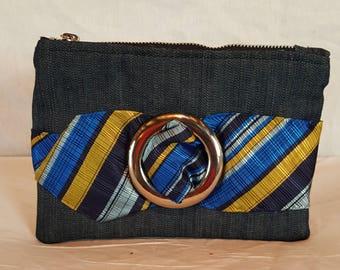 Denim bag with repurposed necktie design