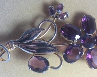Vintage Purple Flower Brooch. 1950's