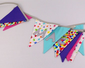 Custom name banner pennant baby room deco Mae Garland personalized flag banner customizable boy Christmas gift