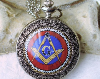 Masonic Compass and Square Gentlemans Steampunk Pocket Watch Necklace or Watch chain and embellishment   6-17