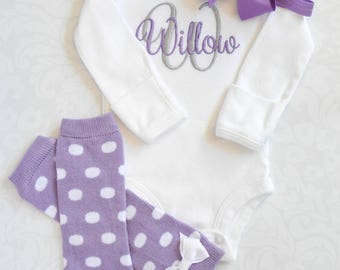 Baby Girl Clothes Baby Girl Coming Home Outfit Baby Girl Gift Newborn Baby Girl Outfit Monogrammed Baby Girl Outfit Baby Girl Leg Warmers